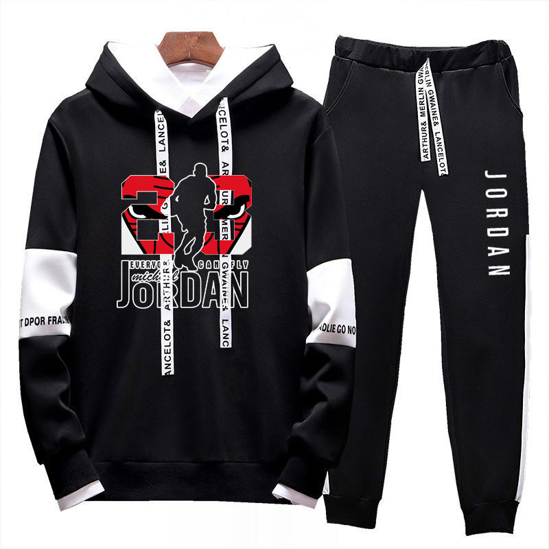 Men Jordan 23 Tracksuits Large Size 4XL Outwear Hoodies Sportwear Sets Male Sweatshirts Cardigan Men Set Clothing+Sweatpants 3