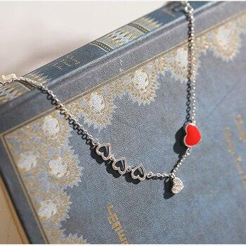 ANENJERY doux argent couleur rouge coeur Zircon Bracelet pour les femmes saint valentin cadeau bijoux pulseras