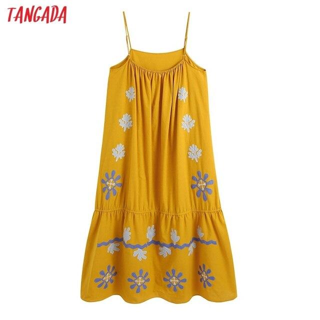 Tangada Women's Summer Embroidery Romantic Cotton Dress Strap Adjust Sleeveless 2021 Korean Fashion Lady Elegant Dresses CE313 6