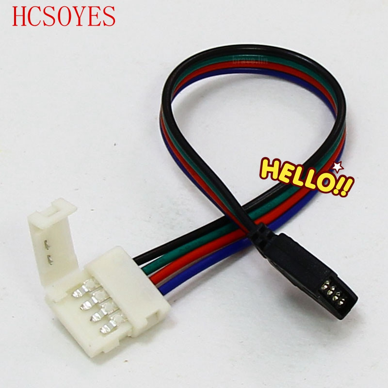 5pcs No Soldering 4PIN Cable PCB Board Wire To 4 Pin Female Adapter 10mm 5050 RGB LED Strip Light Connectors