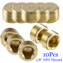 New 10pcs Copper Internal Hex Socket Pipe Plugs G1/8 1/8 NPT Thread Fittings