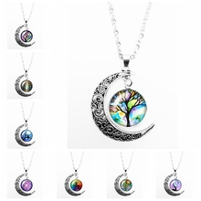 HOT! 2019 New Colorful Tree of Life Pattern Series Glass Convex Fashion Ladies Pendant Necklace Jewelry Gift