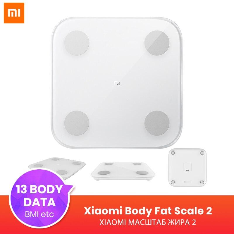 Original Xiao mi mi Composition intelligente échelle de graisse corporelle 2 Bluetooth 5.0 Test d'équilibre 13 données corporelles B mi échelle de santé de taux musculaire