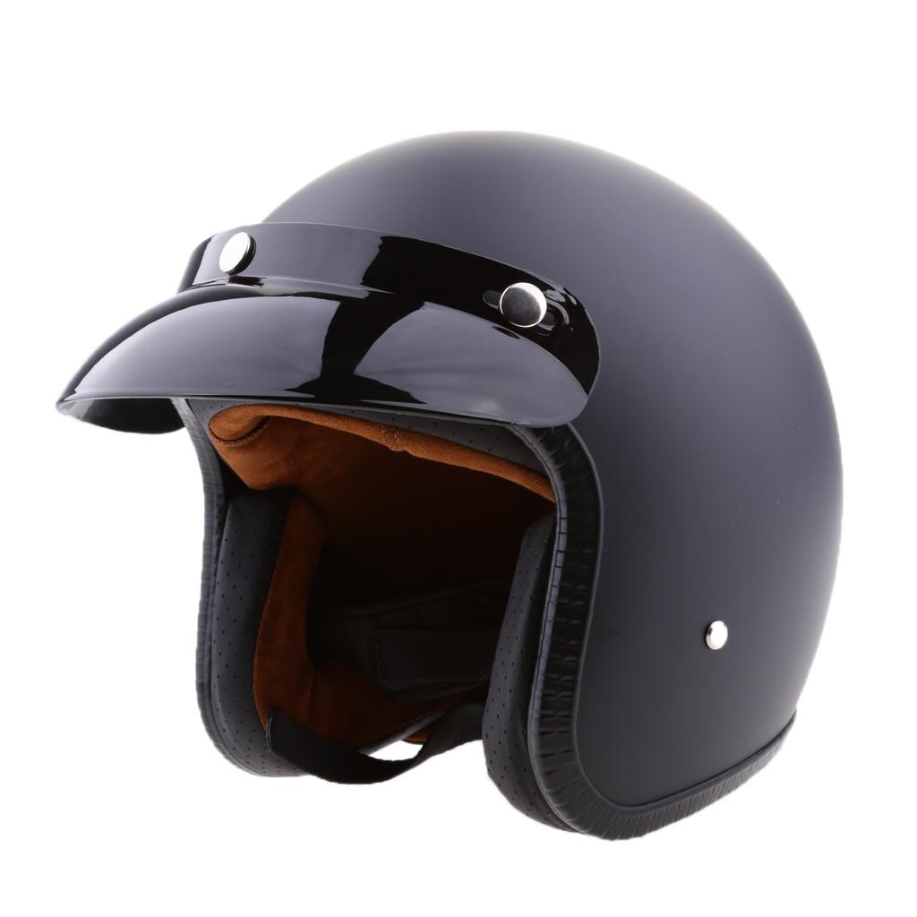 Matte Black Retro Universal Motorcycle 3/4 Open Face Helmet with Sun Visor Vintage Motorbike Helmet - S M L XL