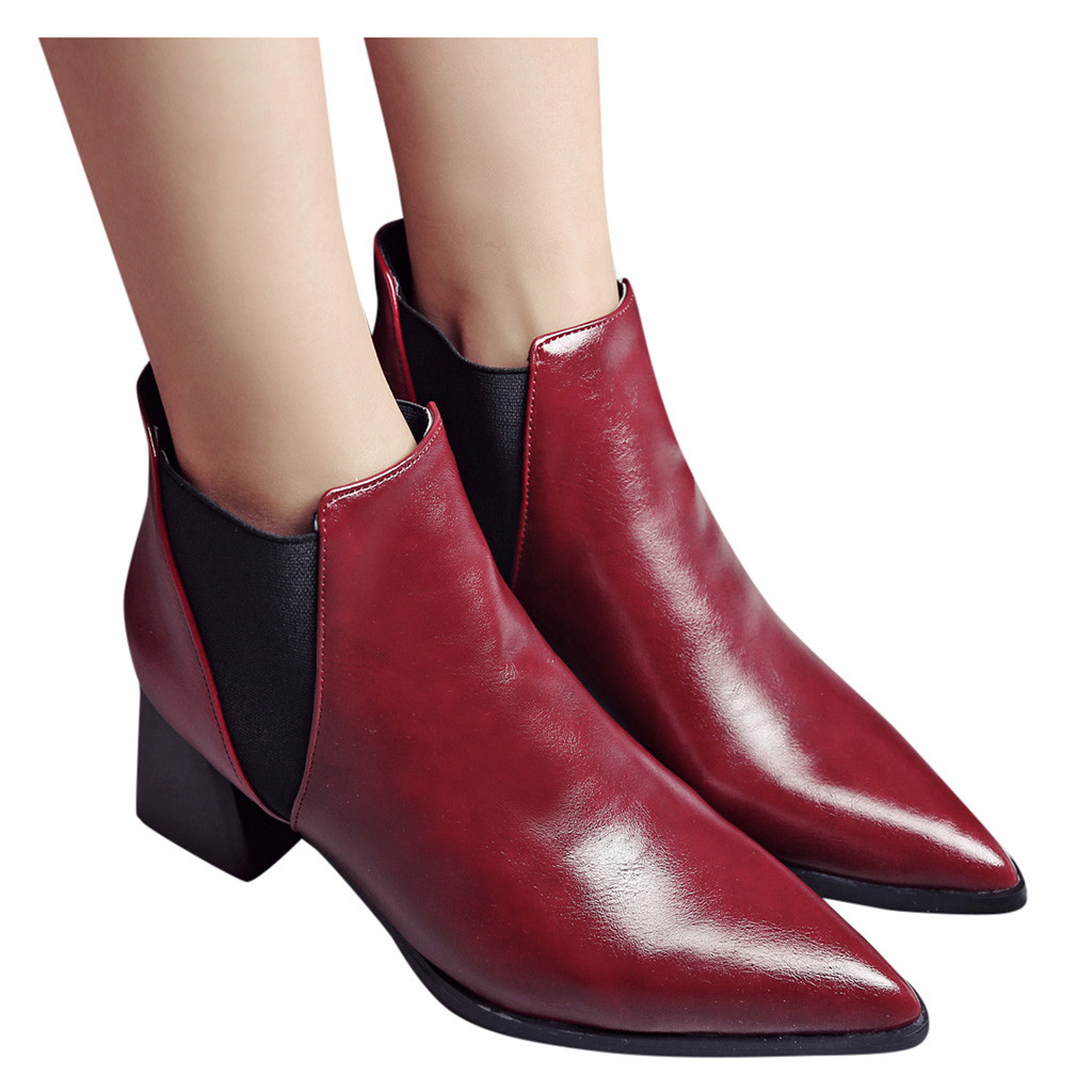 Ankle Boots for Women Casual Thick Heel Autumn Winter Boots Fashion Round Toe Booties Shoes Plus-size botas mujer #G3