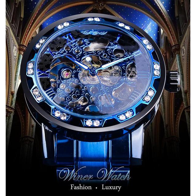 Winner Transparent Diamond Mechanical Watch Blue Stainless Steel Skeleton Watch Top Brand Luxury Business Luminous Male Clock 2
