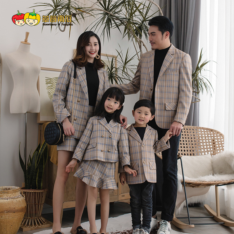 2019 Family Matching Outfits Luxury Design Suits Plaid Clothing for Twins Brother Little Sister Dad Mommy and Me Clothes Dress