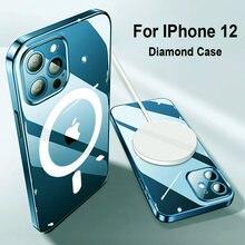 Магнитный Прозрачный чехол для iphone 12 pro max Мини поддерживающих