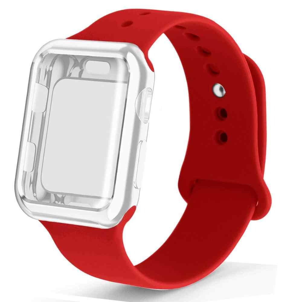 Etui + pasek do zegarka apple watch 5 pasek 44mm correa apple watch 42mm 38mm 40mm iwatch 4 3 2 silikonowa bransoletka pulseira watchband