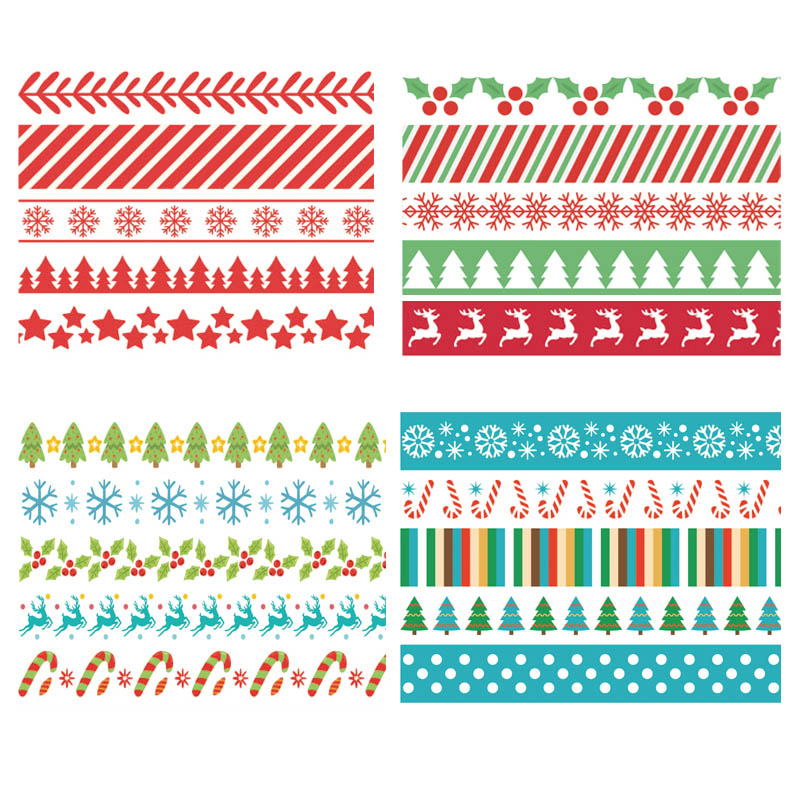 5Pcs Kawaii Christmas And Halloween Washi Tapes Set Rice Paper DIY Planner Adhesive Tape Masking Tape School Supplies Stationery
