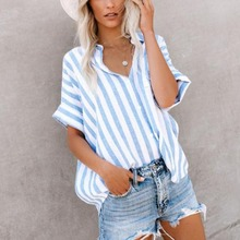 Thin Sunscreen Shirt Blue Women V-Neck Cotton Loose Plus Size Short Sleeve Striped Pattern Casual Style Female Blouse cute plus size scoop neck bird pattern blouse for women