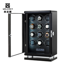 Pokrętło zegarka pudełko drewno akrylowe okno czarne włókno węglowe cicha witryna silnika zegarki PU skóra LED Light 12 slotów tanie tanio CN (pochodzenie) Pudełka do zegarków Moda casual 21cm Nowy z metkami MQ-5205 Rectangle 59cm Drewna 35cm Mieszane materiały