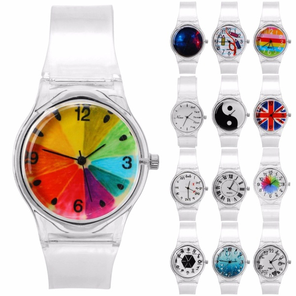 Women Watches Simple Transparent Cute Pattern Silicone Number Ladies Wrist Watch Quartz Colorful Sequins Sport Wristwatch