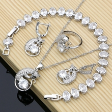 Fox 925 Silver Bridal Jewelry Sets Docoration For Women Engagement Earrings Rings Dropshipping Animal Necklace Set