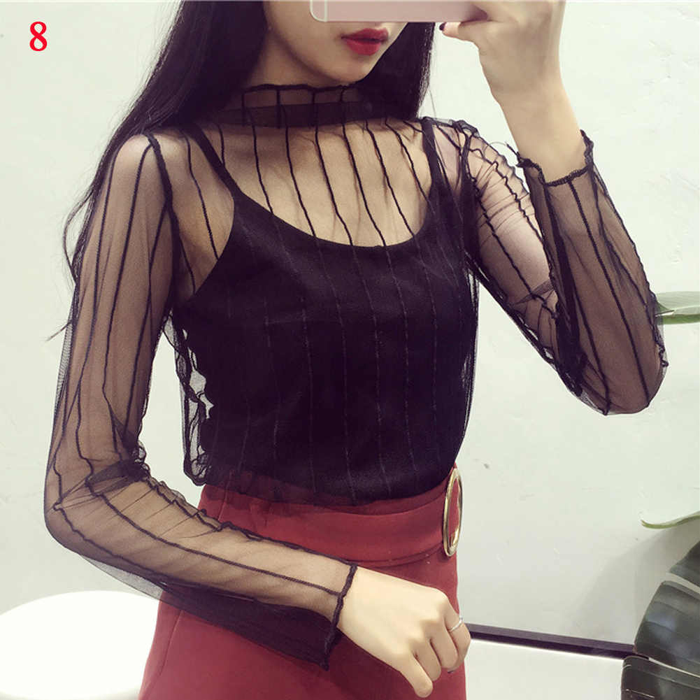 Vrouwen Mesh Netto Blouse Sheer Lange Mouwen Dames Shirt Zwart Sexy Tops Womens Kleding Zomer Vrouwelijke Effen Kleur Blouses