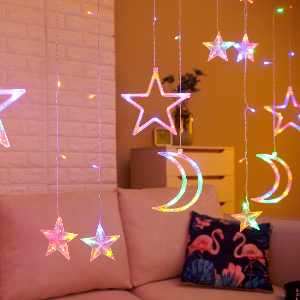 3.5M 220V LED Moon Star Lamp Christmas Garland String lights Fairy Curtain light Outdoor For Holiday Wedding Party Decoration Pakistan