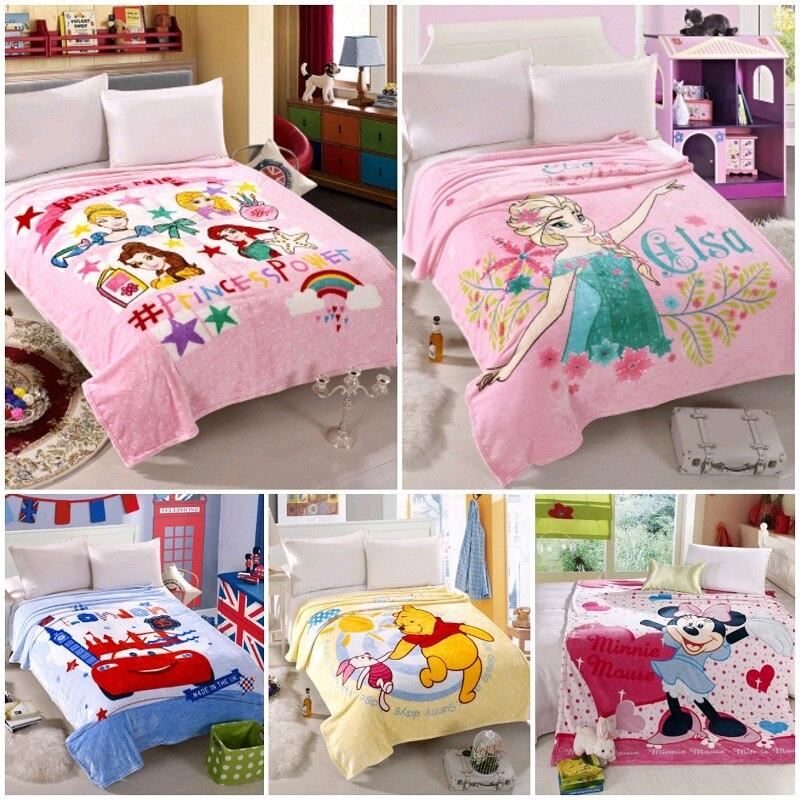 Couverture épaisse en flanelle pour enfants | Couverture de princesse Elsa reine des neiges, 150x200cm, housse de lit, dessin animé, Winnie Minnie Mouse, préférée des enfants