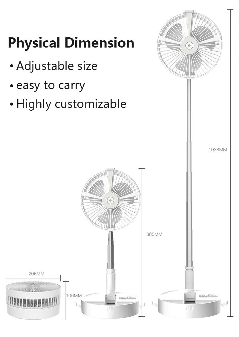 Household Folding Telescopic Fan USB Fan Table Lamp Desk Night Light Home Desktop Stand Mute Fan Humidification Water Spray Fan