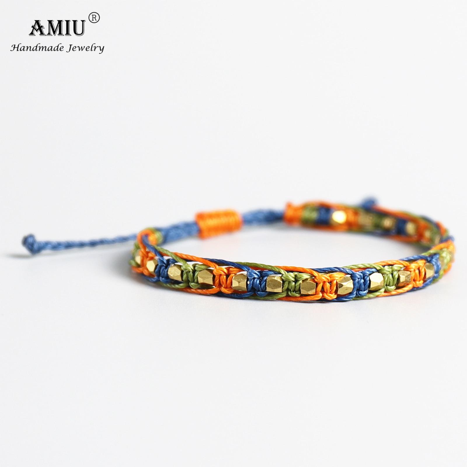AMIU Handmade Waterproof Wax Thread Copper Bead Lucky Rope Bracelet & Bangles For Women Men Friendship Woven Macrame Bracelets