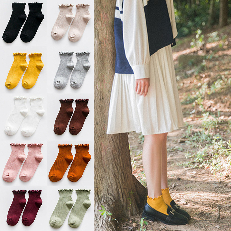 Fashion Women Socks Cute Solid Color Ankle High Casual Warm Breathable Socks J9