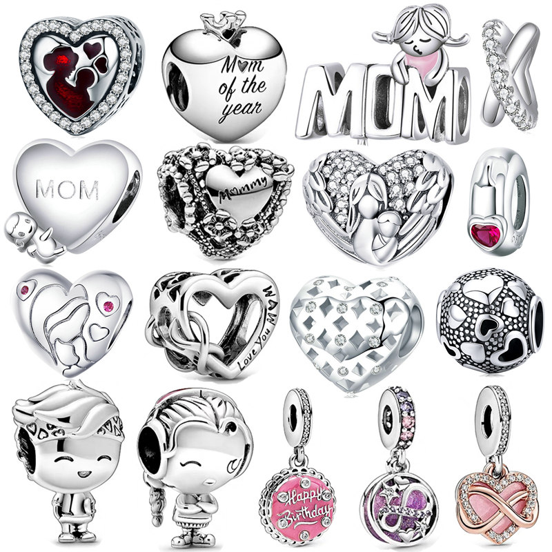 fit Pandora Bracelet Silver 925 Original CZ Mom Daughter Son Heart Beads Infinite Love Gift Charms Mother's Day Jewelry Making(China)