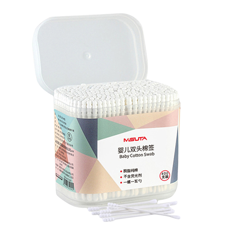 400 Pcs Fine Paper Stick Double Screw Cotton Swab Baby Safety Cotton Buds Baby Clean Ears Health Tampons