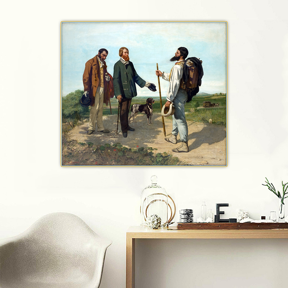 Citon Gustave Courbet《The Meeting or Hello, Monsieur Courbet》Canvas Art Oil Painting Picture Backdrop Wall Decor Home Decoration