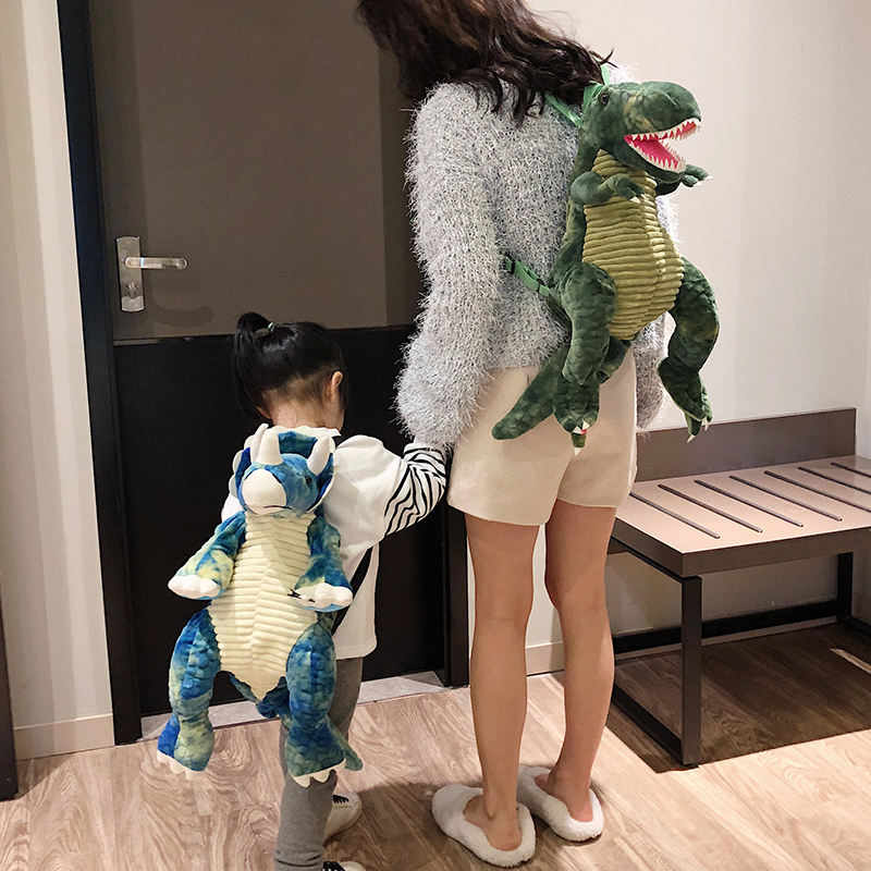 New Fashion Parent-child Creative 3D Dinosaur Backpack Cute Animal Cartoon Plush Backpack Dinosaurs Bag For Children Kids Gifts