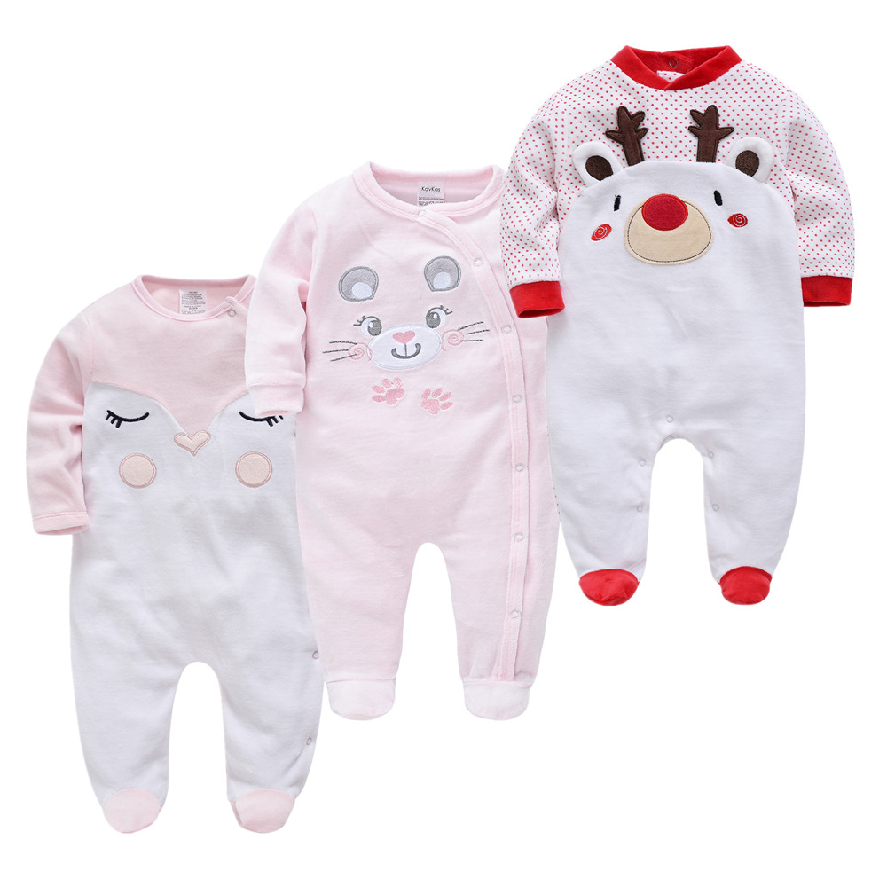 Baby Boy Girl Clothes Pajamas Fleece Toddler Baby Warm Velvet Pyjamas Catoon Bear Sleepwear Boys Home Suit Winter Fall Spring
