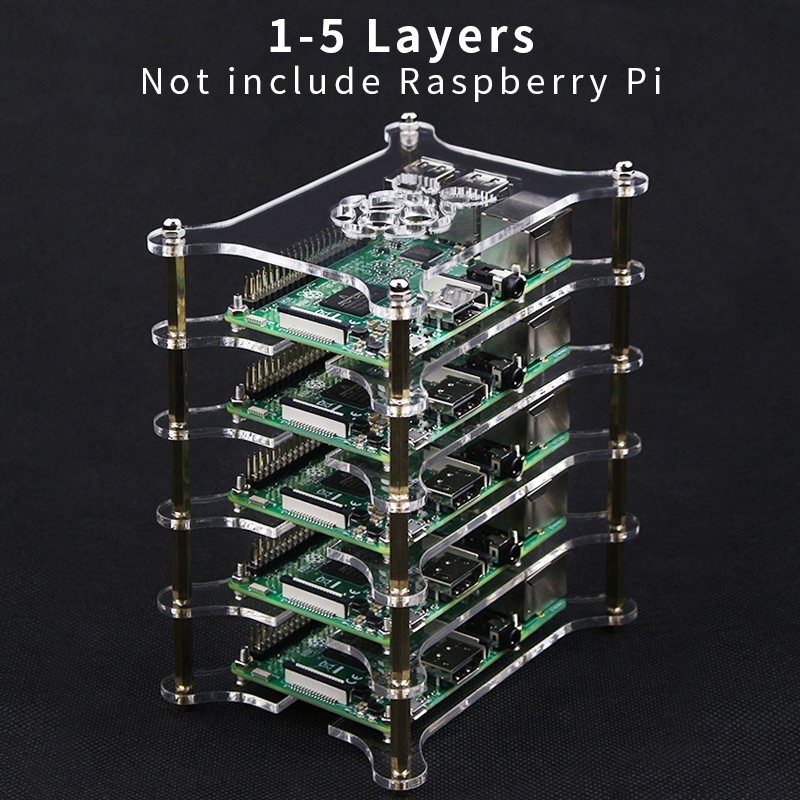 For Raspberry Pi 4 Acrylic Case 1-5 Layers Stackable Dog Bone Box Clear Enclosure Fits Raspberry Pi 3 Model B 3B Plus 2B 4B