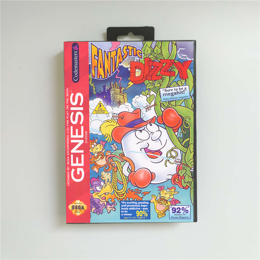 Fantastic Dizzy - USA Cover With Retail Box 16 Bit MD Game Card for Sega Megadrive Genesis Video Game Console