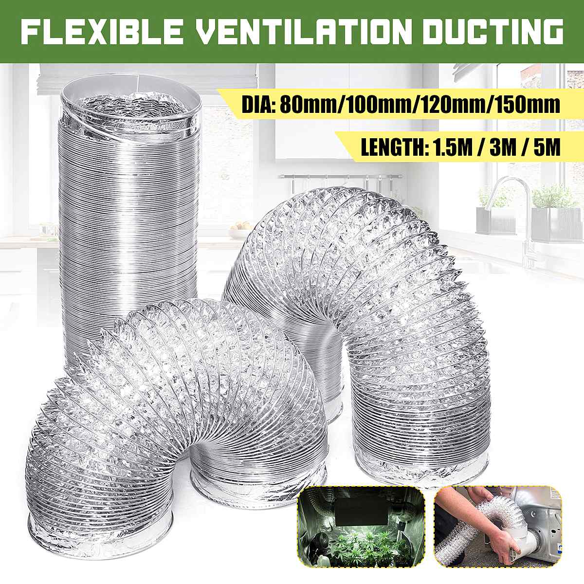 Flexible Air Ventilation Aluminum Air Duct Exhaust Hose Universal For Hydroponics Extractor Fan Kitchen Drier Air Conditioner