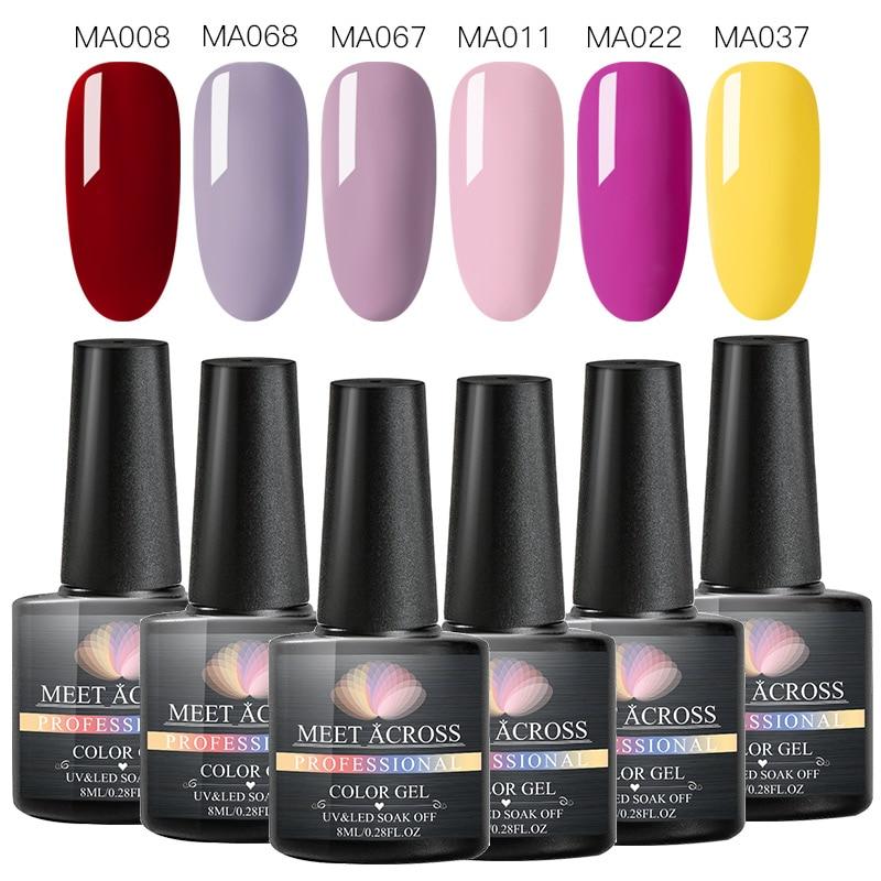 MEET ACROSS Pure Glitter Gel Polish Set UV Vernish Kit Semi Permanent Top Coat Soak Off Varnish Nail Art Manicure Uv Gel Lak