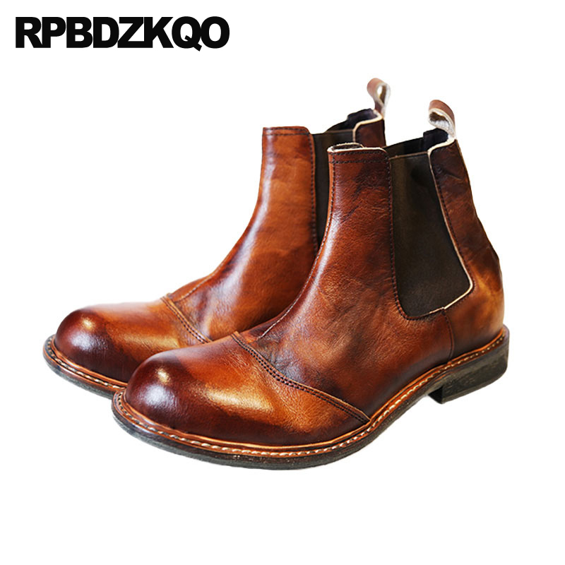 2018 Autumn Fall Ankle Slip On Short Men Chunky Italian Designer Shoes Brown Booties Chelsea Full Grain Leather Boots Stylish