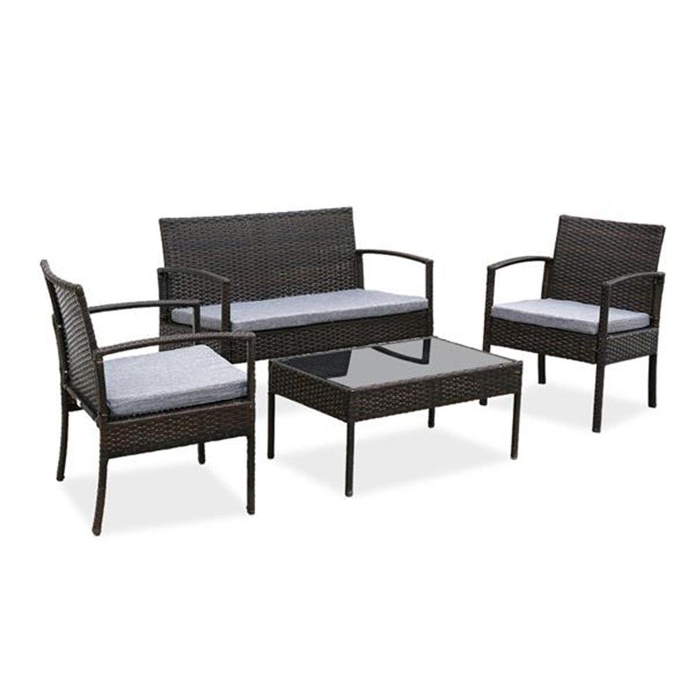 Conjunto exterior da mobília do vime do rattan do pátio de 4 pces com o sofá da tabela amortecido cinzento claro