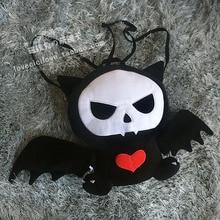Gótico Negro Blanco Calavera Bat Cat Lolita Kawaii Plush Mochila Bolso Halloween