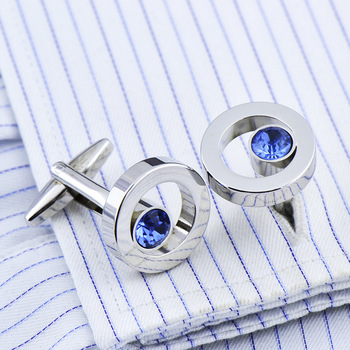 French High Grade Metal Blue Crystal Cuff Links 1