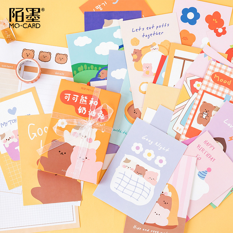 30 Pcs Cream Rabbit And Cocoa Bear Series Greeting Card Cute Postcard Birthday Letter Envelope Gift Card Set Message Card