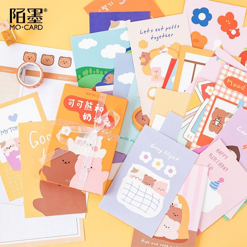 30 штук футболка с кроликом и какао медведь серии поздравительная открытка милый Почтовые открытки на день рождения с буквенным принтом кон...