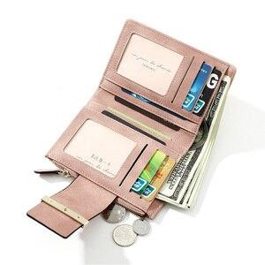Image 2 - 2020 ใหม่สตรีสั้นกระเป๋าสตางค์สุภาพสตรีกระเป๋าเงินขนาดเล็ก Bifold กระเป๋าสตางค์ซิปกระเป๋าสำหรับหญิงสีเหลือง