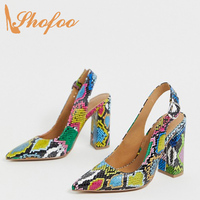 Multicolor Snake Skin Woman Pumps Pointed Toe Buckle Strap Heels Large Size 13 16 Lady Office Career Shoes Mature Fashion Shofoo