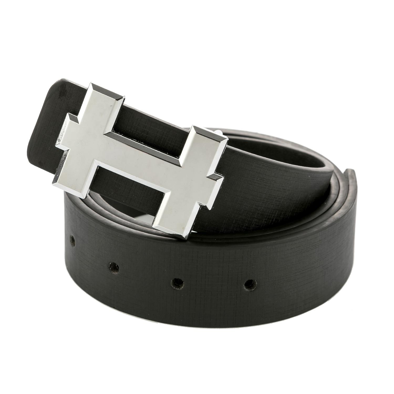 Men Belts Luxury Designer H Brand Designer Male PU Leather Women Belt For Man Buckle Strap For Jeans Black Size 110cm