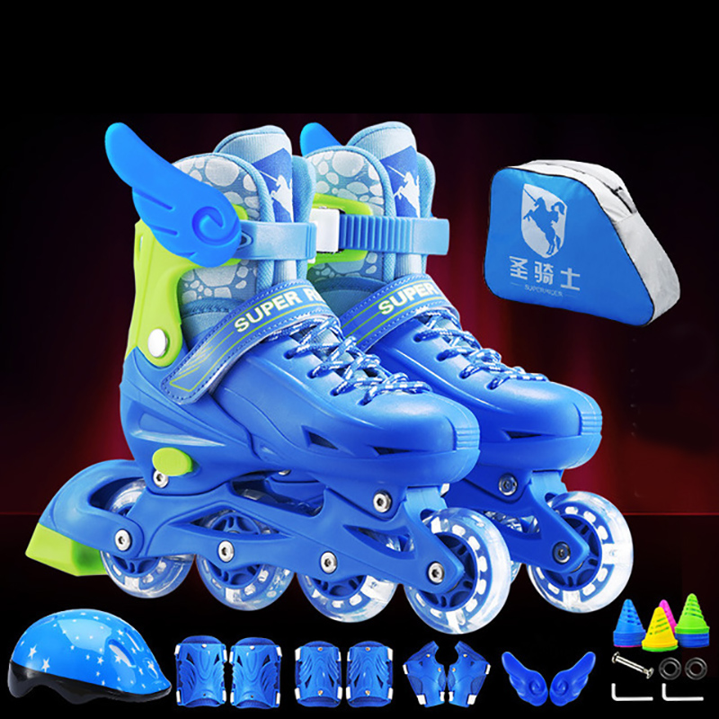 NEW Arrival 2019 Children Kids Inline Skate Roller Skating Shoes Helmet Knee Protector Gear Adjustable Flashing Wheels PVC