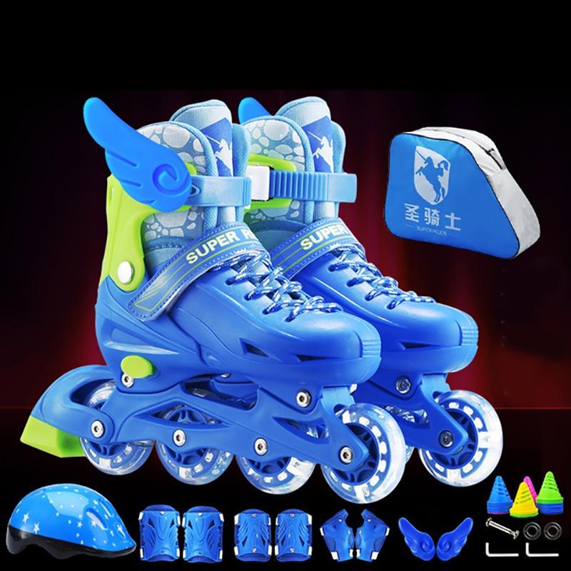 NEW Arrival 2019 Children Kids Inline Skate Roller Skating Shoes Helmet Knee Protector Gear Adjustable Flashing Wheels PVC