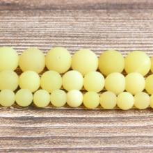 Linxiang Natural Jewelry Grinded Lemon Jade Bulk 4/6/8/10/12 mm Suitable for Making DIY Bracelet Necklace