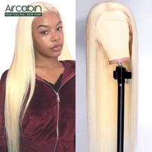 Aircabin 32 30 inç düz dantel ön peruk brezilyalı İnsan saç dantel kapatma peruk kadınlar için 613 sarışın renk Remy saç peruk