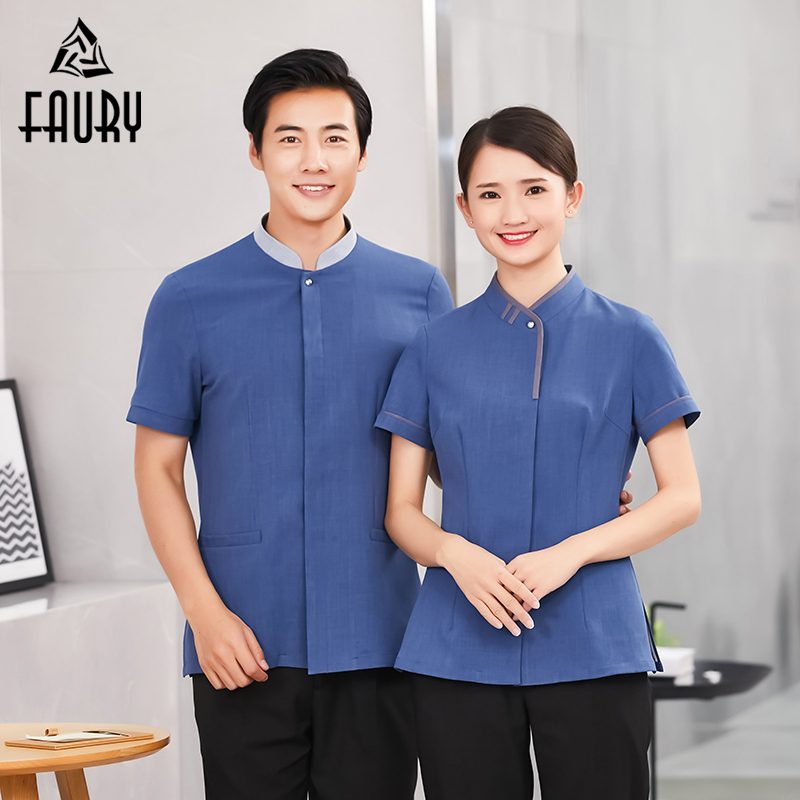 Men Women Cleaning Service Short Sleeve Work Wear Hotel Uniform Restaurant Housekeeper Work Jacket Overalls Laundry Clothes
