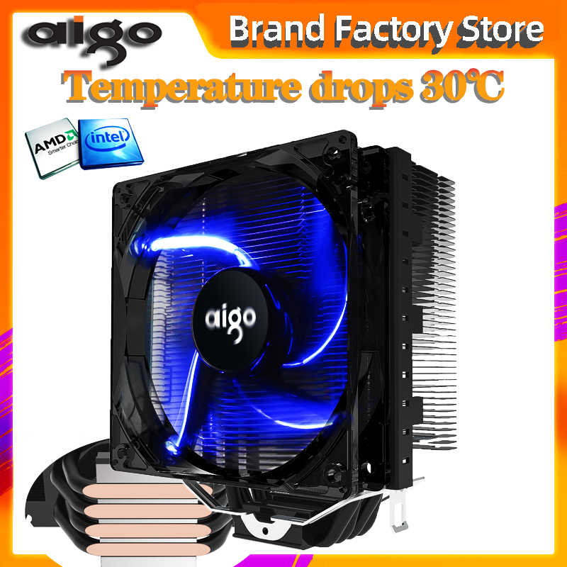 Aigo 120Mm 4pin Cpu Fan Cpu Koeler 4 Heatpipes Cpu Koeler Radiator Voor Amd Intel 775/115/AM3/AM4 Blauwe Led Stille Cpu Koelventilator