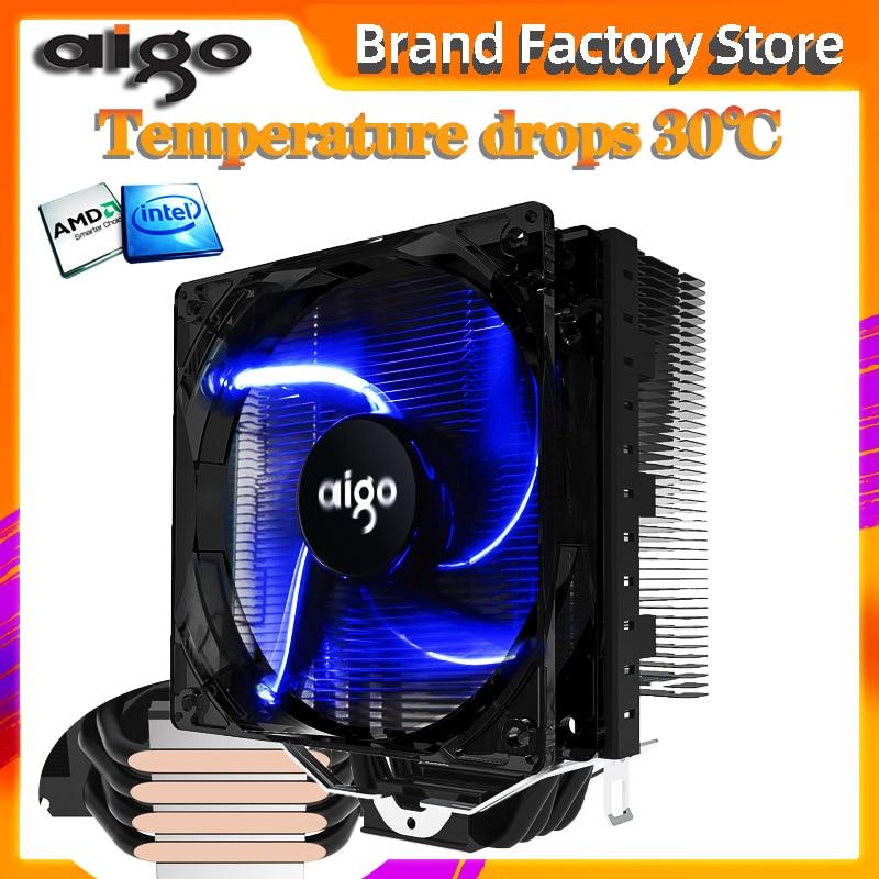 Aigo 120mm 4pin cpu ventilador cooler 4 heatpipes cpu cooler radiador para amd intel 775/115/am3/am4 led azul silencioso cpu ventilador de refrigeração