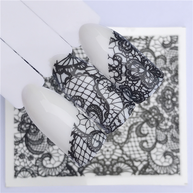 Nails Water Transfer Nail Art Stickers Decals Black Lace Flowers Design DIY French Manicure Foils Stamp Tools